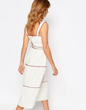 photo Embroidered Pinafore Dress by Millie Mackintosh, color Cream - Image 2