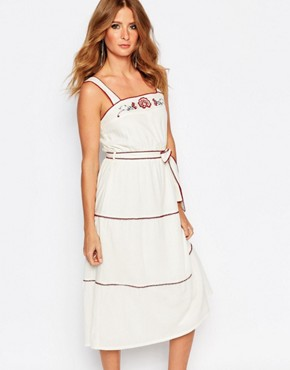 photo Embroidered Pinafore Dress by Millie Mackintosh, color Cream - Image 1