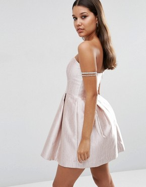 photo Metallic Bonded Bandeau Mini Dress by ASOS NIGHT, color Pink - Image 2