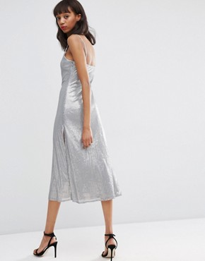 photo Embellished Metal Sequin Cami Midi Dress by ASOS NIGHT, color Grey - Image 2