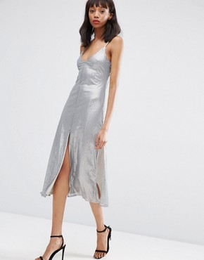 photo Embellished Metal Sequin Cami Midi Dress by ASOS NIGHT, color Grey - Image 1