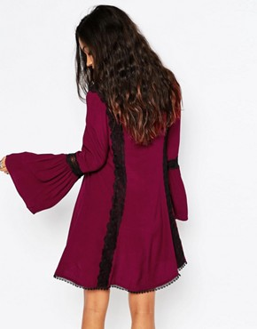 photo Lace Detail Skater Dress by JAPONICA, color Wine - Image 2