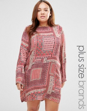 photo Shift Dress in Scarf Print by Diya Plus, color Multi - Image 1