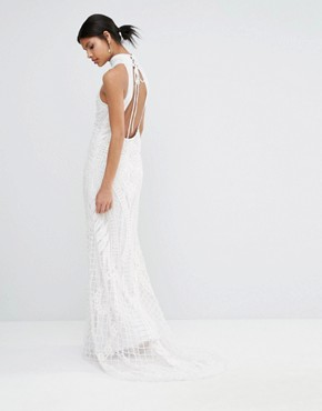 photo Embellished High Neck Maxi Dress by A Star Is Born, color White - Image 2