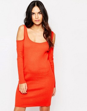 photo Colour Ribbed Jumper Bodycon Dress by Girls on Film, color Tomato - Image 1