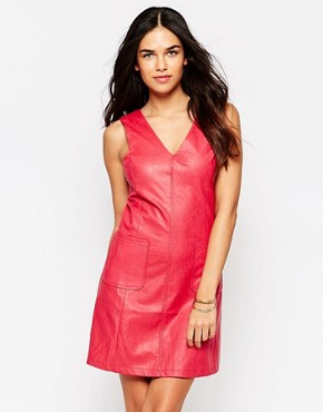 photo Faux Leather Dress by Girls on Film, color Raspberry - Image 1