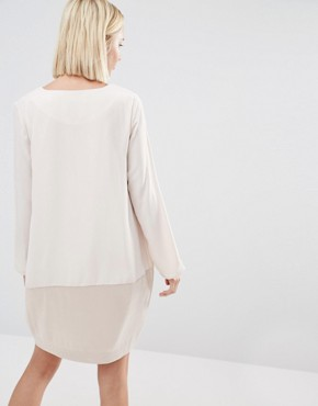 photo Shift Dress with Satin Lower Panel by Paisie, color Nude - Image 2