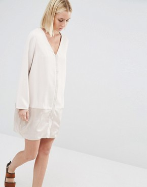 photo Shift Dress with Satin Lower Panel by Paisie, color Nude - Image 1