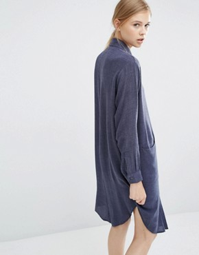 photo Shirt Dress with Side Pockets by Paisie, color Denim Blue - Image 2