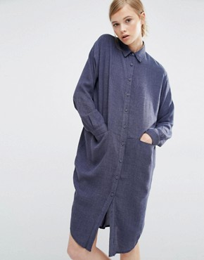 photo Shirt Dress with Side Pockets by Paisie, color Denim Blue - Image 1