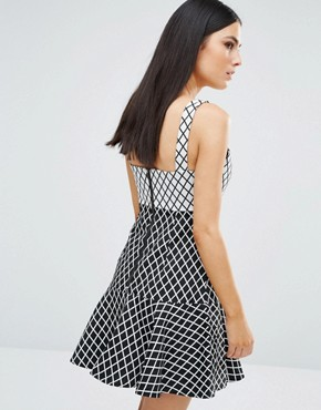 photo Chronicle Dress by Stylestalker, color Grid Print - Image 2