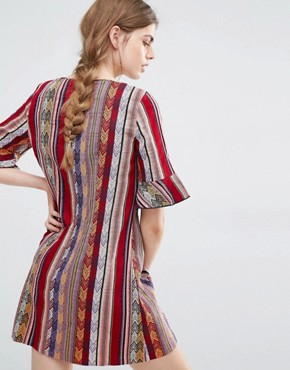 photo Shift Dress in Serape Stripe Tapestry by Anna Sui, color Raspberry Multi - Image 2