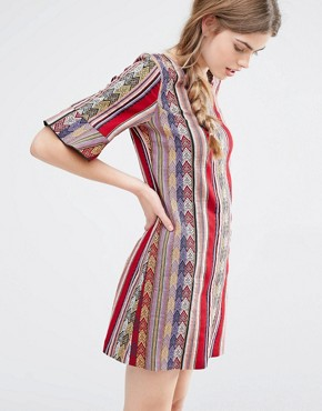 photo Shift Dress in Serape Stripe Tapestry by Anna Sui, color Raspberry Multi - Image 1
