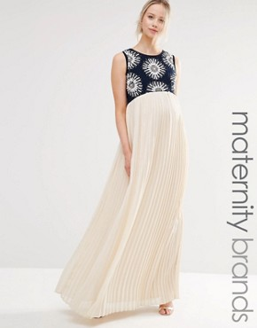 photo 2 in 1 Embellished Maxi Dress with Cut Out Back by Maya Maternity, color Multi - Image 1
