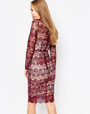 photo Lisa Scuplting Lace Bodycon Dress by Body Frock, color Burgundy - Image 2