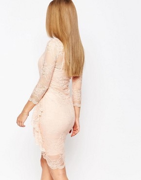 photo Joanna Dress in Lace with Ruffle by Body Frock, color Nude - Image 2
