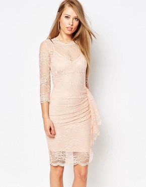 photo Joanna Dress in Lace with Ruffle by Body Frock, color Nude - Image 1