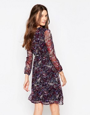 photo Long Sleeve Wrap Front Dress in Paisley Print by Diya, color Purple Paisley - Image 2