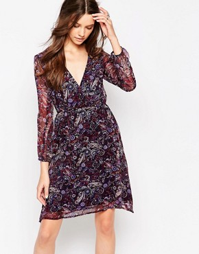 photo Long Sleeve Wrap Front Dress in Paisley Print by Diya, color Purple Paisley - Image 1