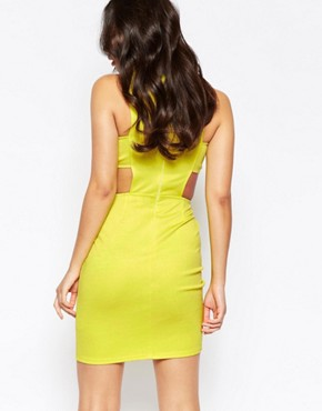 photo Cut Out Waist Bodycon Dress by Twin Sister, color Sulphur - Image 2