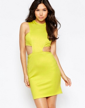 photo Cut Out Waist Bodycon Dress by Twin Sister, color Sulphur - Image 1