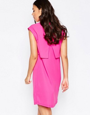 photo Two Tiered Shirt Dress by Twin Sister, color Fluro Pink - Image 2