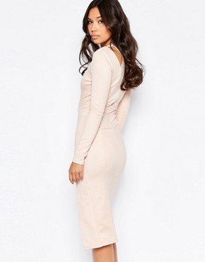 photo Cut Out Shoulder Midi Dress by Twin Sister, color Blush - Image 2