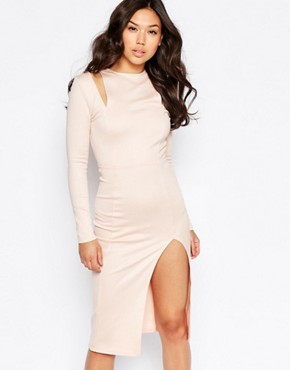 photo Cut Out Shoulder Midi Dress by Twin Sister, color Blush - Image 1