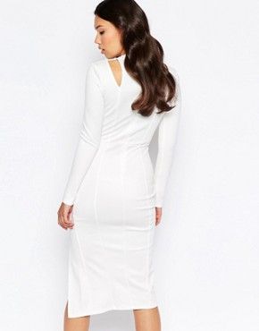photo Cut Out Shoulder Midi Dress by Twin Sister, color Cream - Image 2