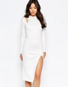 photo Cut Out Shoulder Midi Dress by Twin Sister, color Cream - Image 1