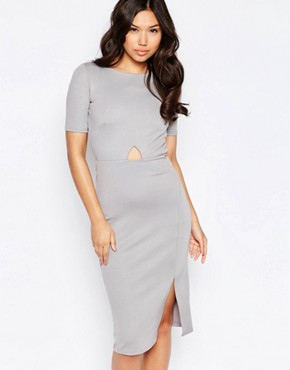 photo Open Back Cut Out Dress by Twin Sister, color Grey - Image 2