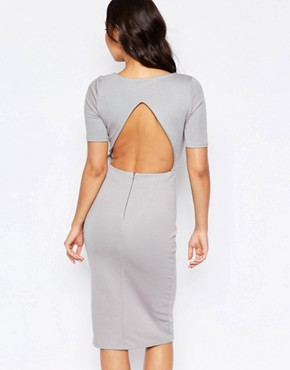 photo Open Back Cut Out Dress by Twin Sister, color Grey - Image 1
