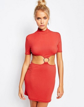 photo High Neck Dress with Cut Outs and D-Ring Detail by The Ragged Priest, color Rust - Image 1