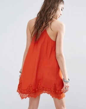 photo Cami Slip Dress with Lace Hem by Kiss The Sky, color Burnt Orange - Image 2