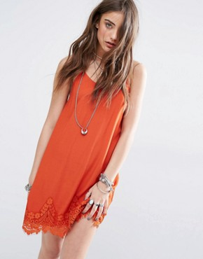 photo Cami Slip Dress with Lace Hem by Kiss The Sky, color Burnt Orange - Image 1