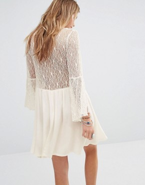 photo Button Front Smock Dress with Lace Panels by Kiss The Sky, color Cream - Image 2
