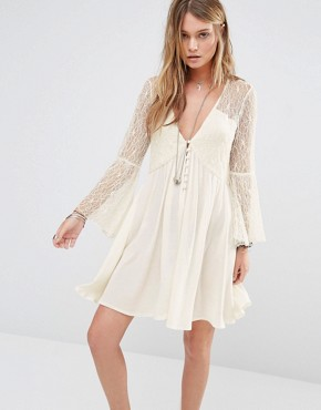 photo Button Front Smock Dress with Lace Panels by Kiss The Sky, color Cream - Image 1