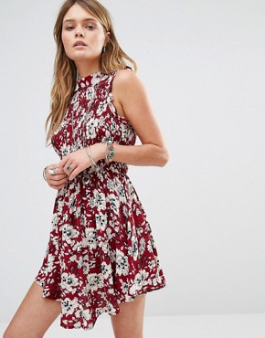 photo High Neck Dress in Floral Print by Kiss The Sky, color Red - Image 1