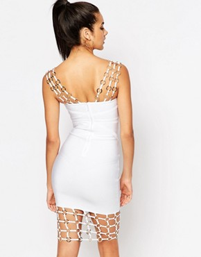 photo Chain Detail Bandage Midi Dress by WOW Couture, color White - Image 2