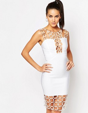 photo Chain Detail Bandage Midi Dress by WOW Couture, color White - Image 1