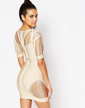 photo Bandage Bodycon Dress with Ladder Detail by WOW Couture, color Taupe - Image 2