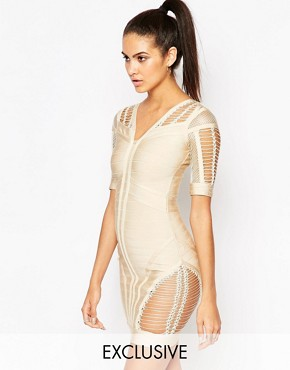 photo Bandage Bodycon Dress with Ladder Detail by WOW Couture, color Taupe - Image 1