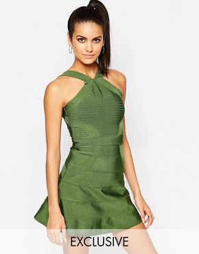photo Bandage Skater Dress by WOW Couture, color Khaki - Image 1