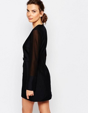 photo Button Up Wrap Dress by C/meo Collective, color Black - Image 2