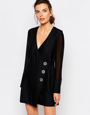 photo Button Up Wrap Dress by C/meo Collective, color Black - Image 1