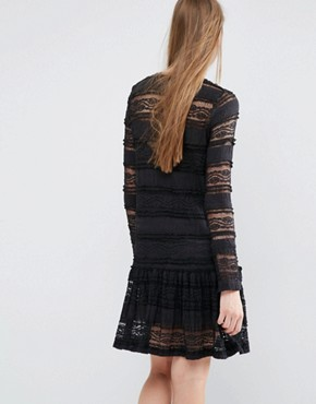 photo Eunice Drop Waist Dress in Lace by Baum und Pferdgarten, color Black - Image 2