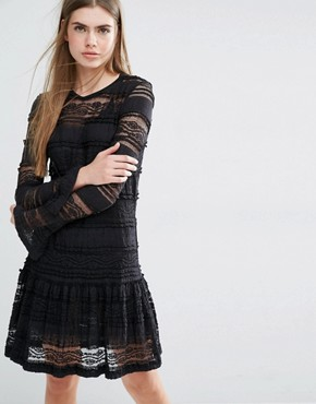 photo Eunice Drop Waist Dress in Lace by Baum und Pferdgarten, color Black - Image 1