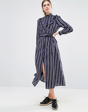 photo Alexa Midi Dress in Double Stripe by Baum und Pferdgarten, color Navy - Image 1