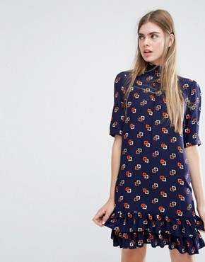 photo Alba Drop Waist Dress in Minibox Print by Baum und Pferdgarten, color Navy - Image 1