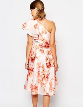 photo Sateen Prom Dress with Ruffle Shoulder by True Violet, color Autumn Floral - Image 2